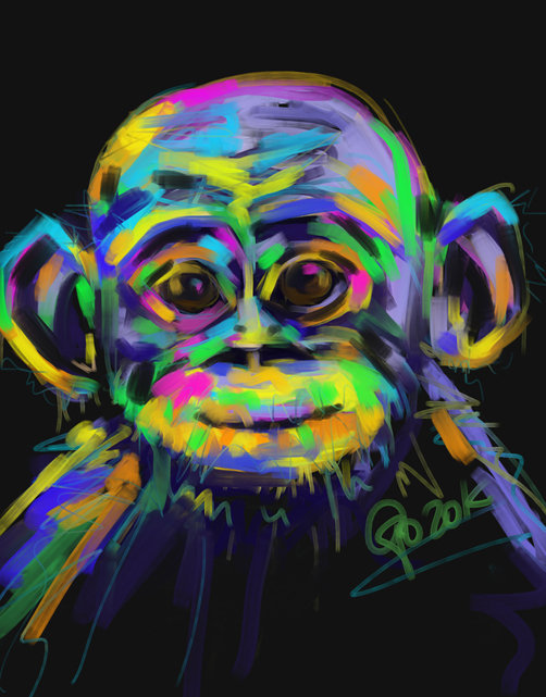 Digital painting Chimpanzee Baby Chimp