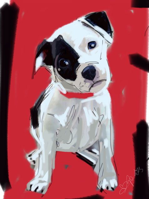 Digital painting Doggie Red