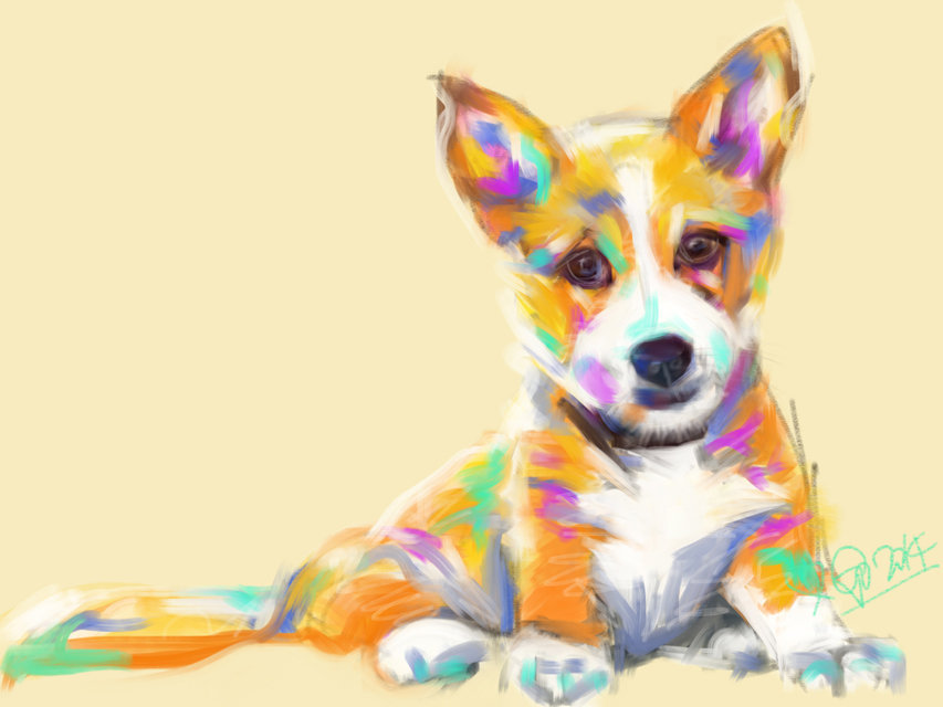 Digital painting Dog Jerry