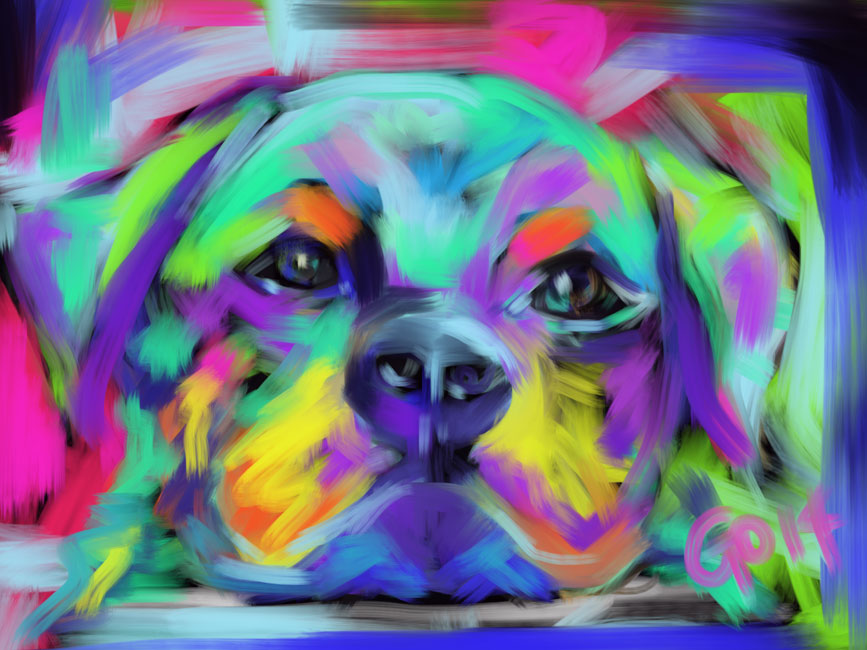 Digital painting Dog Hug