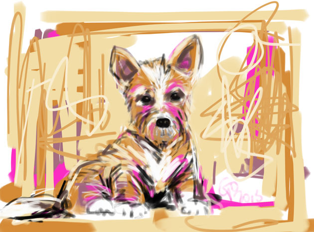 Digital painting of Dog I did not make this mess
