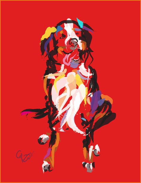 Digital painting Dog Iggy