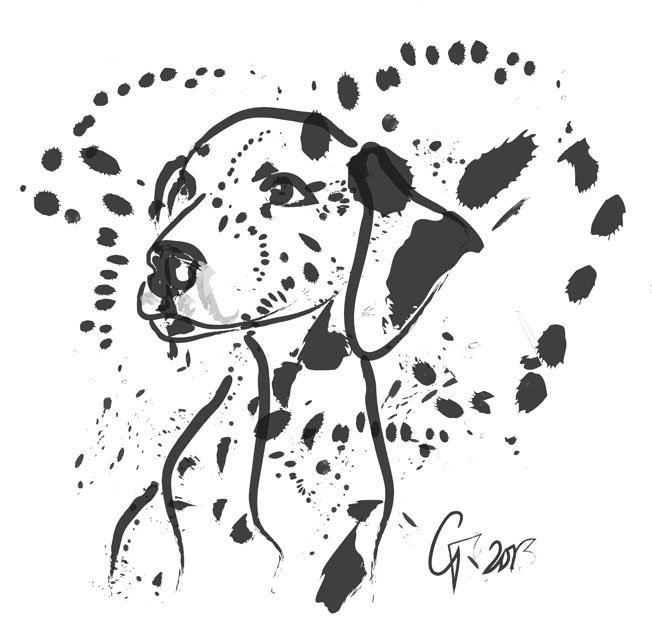 Digital painting Dalmatian Dog Spot