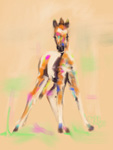 Digital horse painting foal cute fellow
