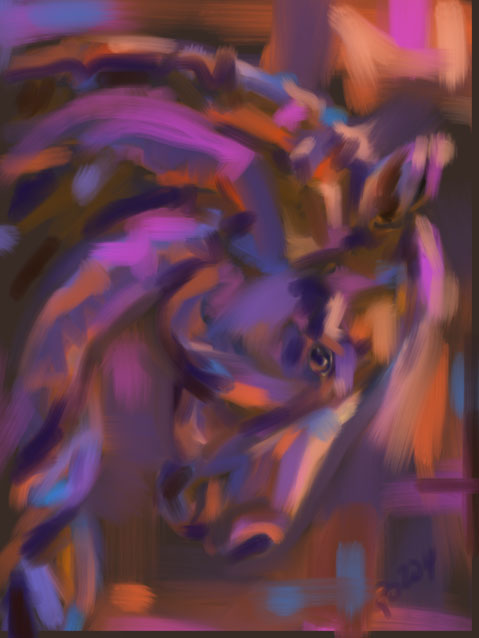 Digital painting Horse Strong Head