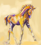 Digital horse painting foal colour and grace
