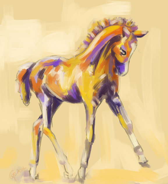 Digital painting Foal Colour and Grace