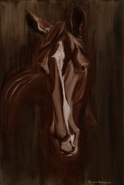 Digital painting Horse Apple Warm Brown