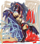 Digital painting horse rising