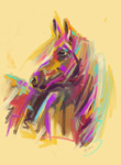 Digital horse painting horse true colours