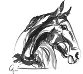 Digital horse painting apple black white
