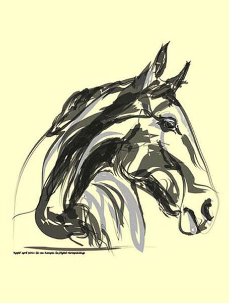 Digital painting Horse Apple