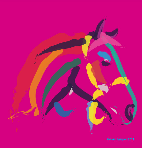 Digital painting Horse Colour me Strong