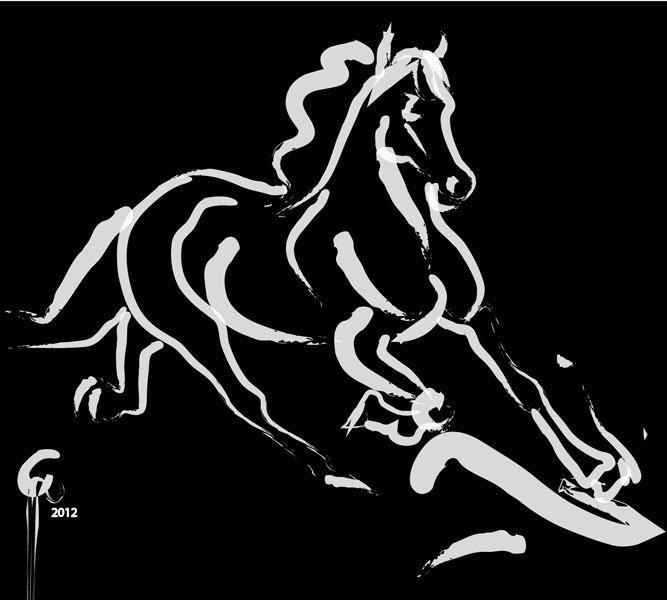 Digital painting Horse Fast Runner Black and White