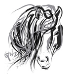 Digital painting horse hair and horse