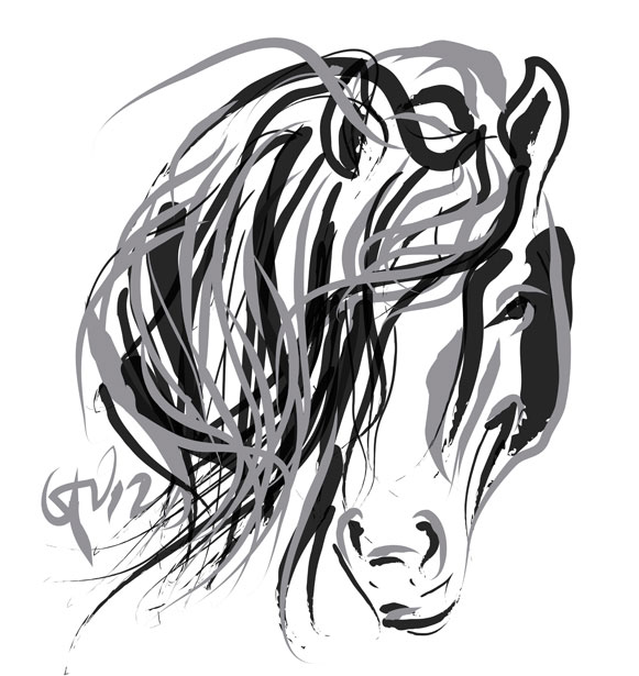 Digital painting Hair and Horse