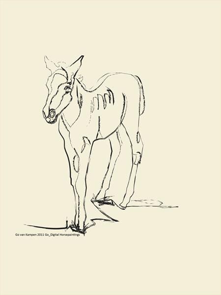 Digital painting Horse Josje