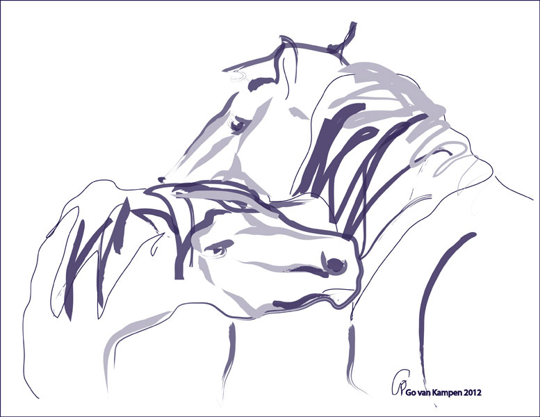 Digital painting Horses Together 10