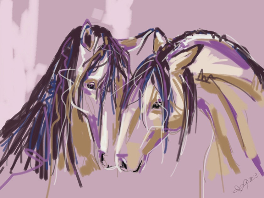 Digital painting Horses Purple Pair