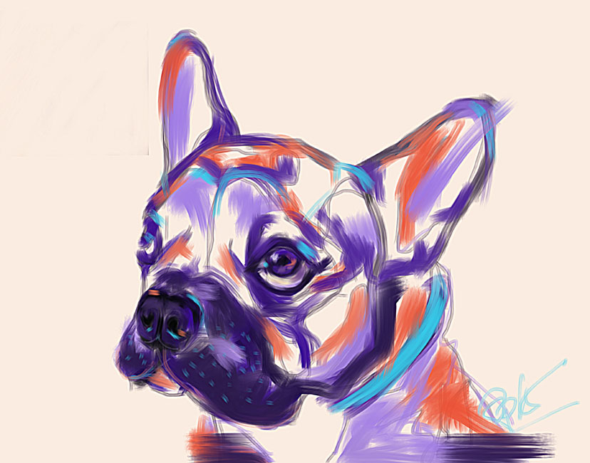 Digital painting Dog Reggie