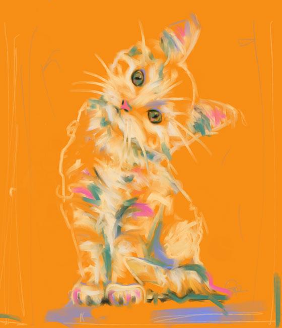 Digital painting cute kitten lou