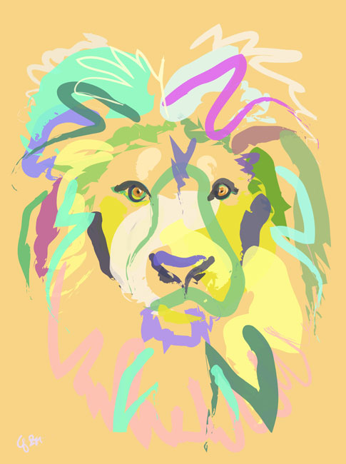 Digital painting Lion