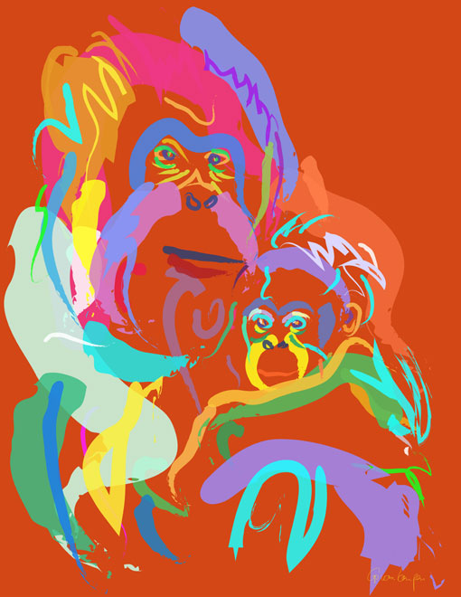 Digital painting Orangutan Mom and Baby