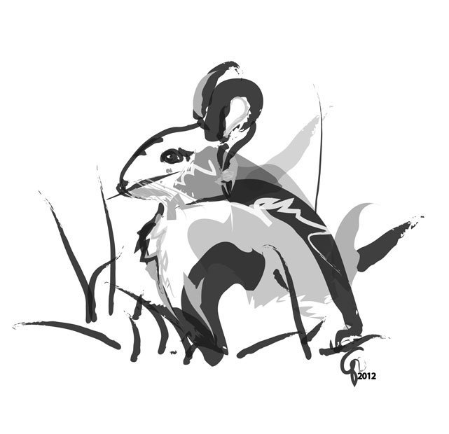 Digital painting Bunny Black White Gray