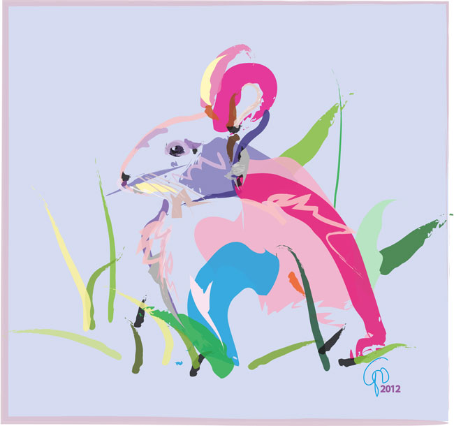 Digital painting Bunny in Colors