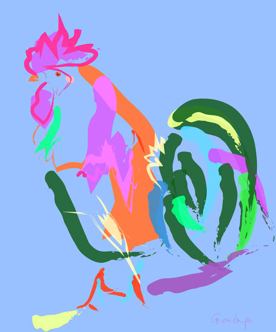 Digital painting Happy Rooster