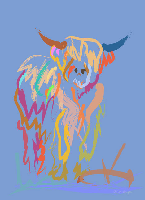 Digital painting Scottish Highland Cow