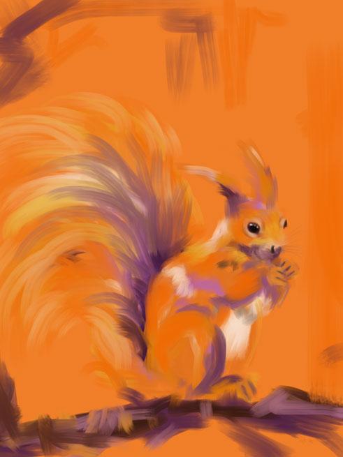 Digital painting Orange Forest Squirrel
