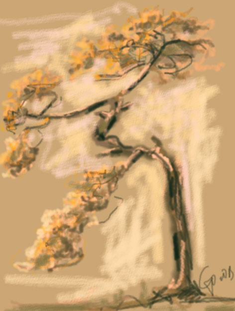 Watercolor painting Warm Tree