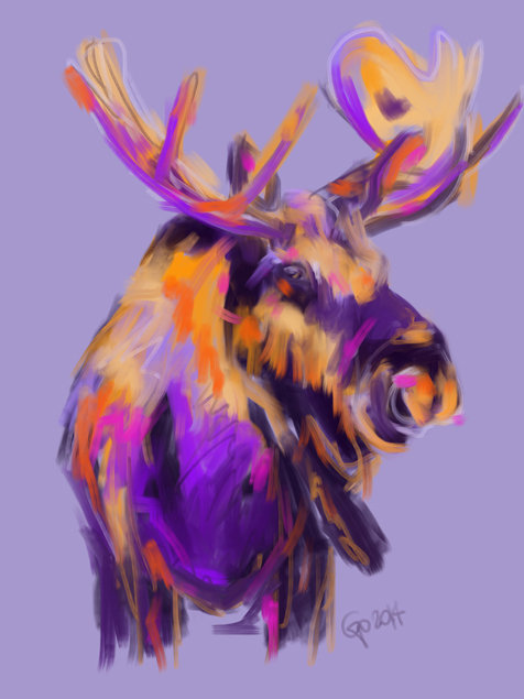 Digital painting Moose Moos