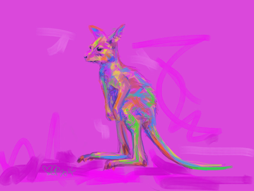 Digital painting Baby Kangaroo