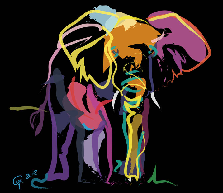 Digital painting Elephant in Color