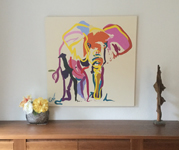 Oil Painting of an Elephant by Go van Kampen in a modern sitting room