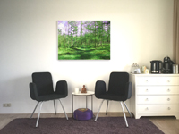 Metal Print of path in green forest by Go van Kampen in a beautiful lobby