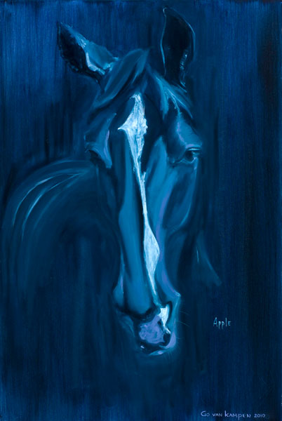 Oil painting Horse Apple Indigo