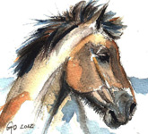Watercolor horse painting Jeremy