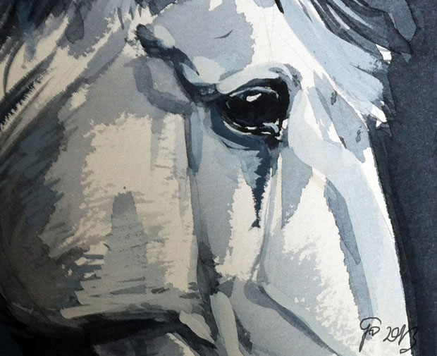 Watercolor painting Horse Look Closer